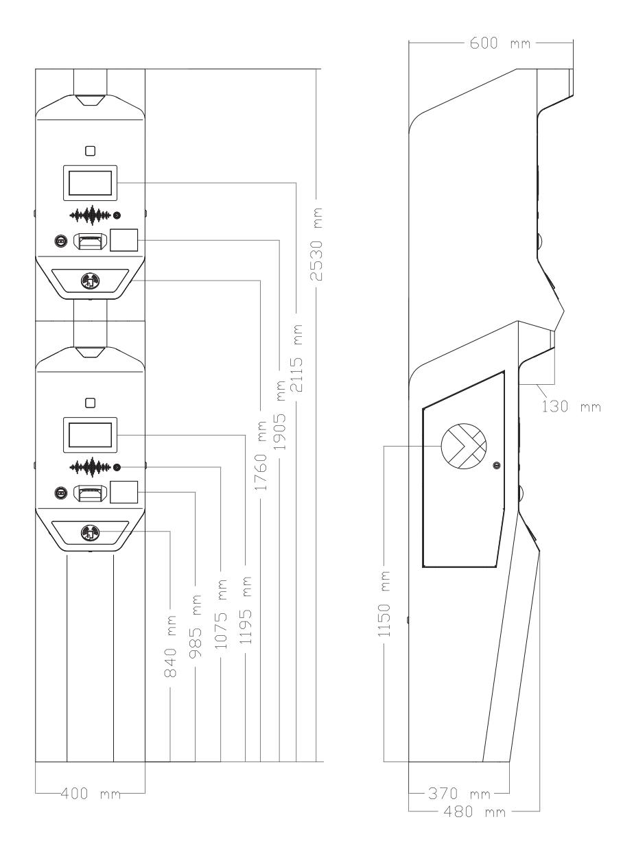 Двухуровневые въездные и выездные стойки парковки для доступа клиента на парковку и управления периферийными устройствами